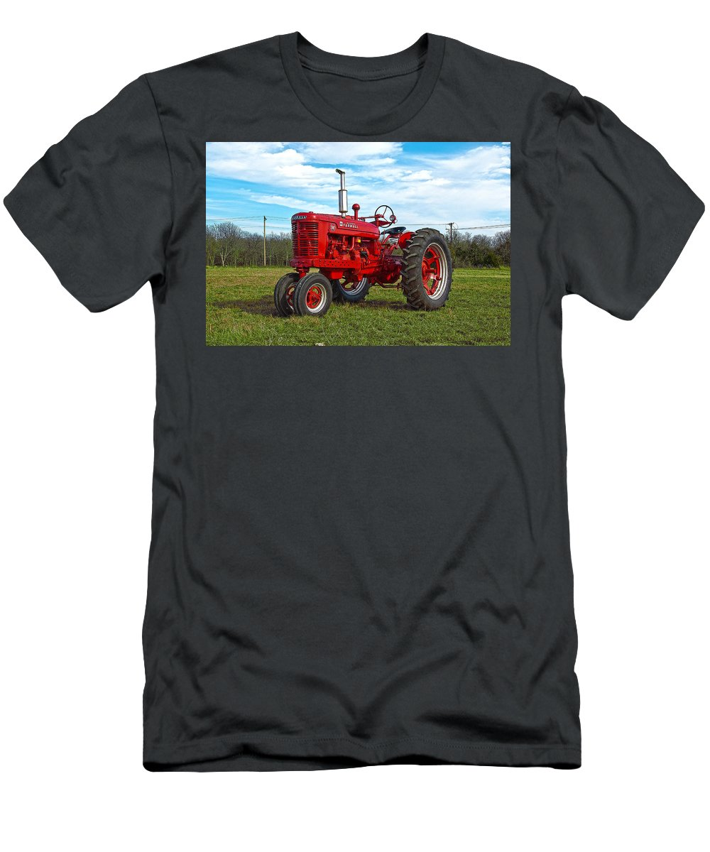 Tractor Men's T-Shirt (Athletic Fit) featuring the photograph Restored Farmall Tractor Hdr by Charles Beeler
