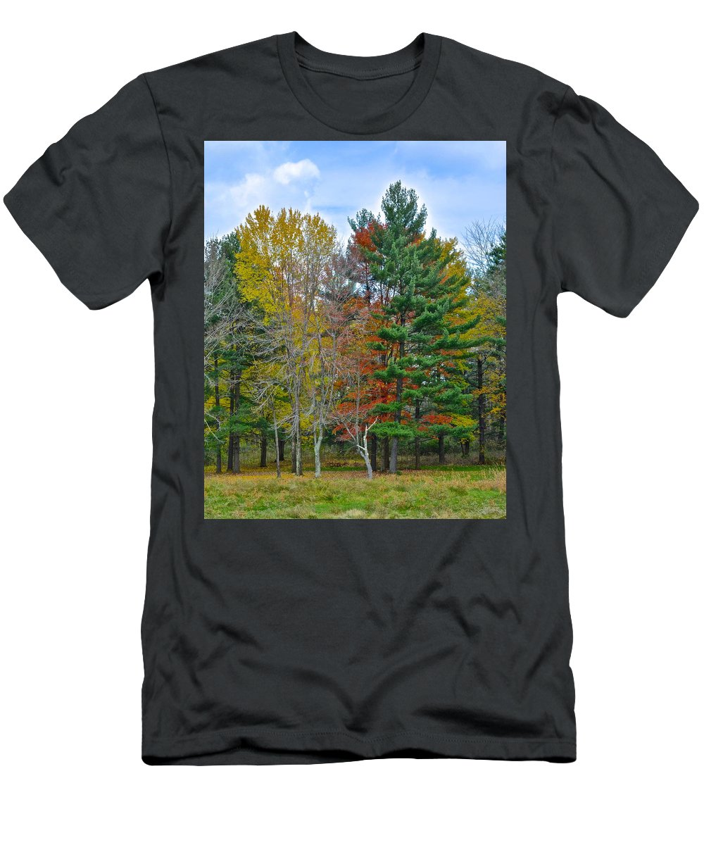 Pine Men's T-Shirt (Athletic Fit) featuring the photograph Retreating Pines by Frozen in Time Fine Art Photography