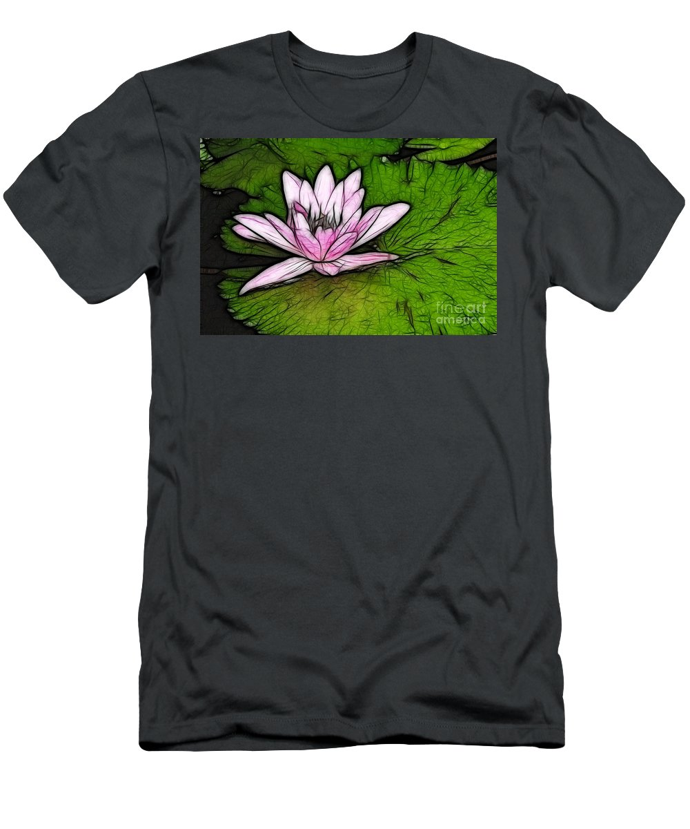 Water Men's T-Shirt (Athletic Fit) featuring the photograph Retro Water Lilly by Bob Christopher