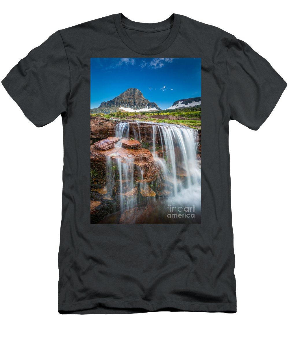 America Men's T-Shirt (Athletic Fit) featuring the photograph Reynolds Mountain Falls by Inge Johnsson