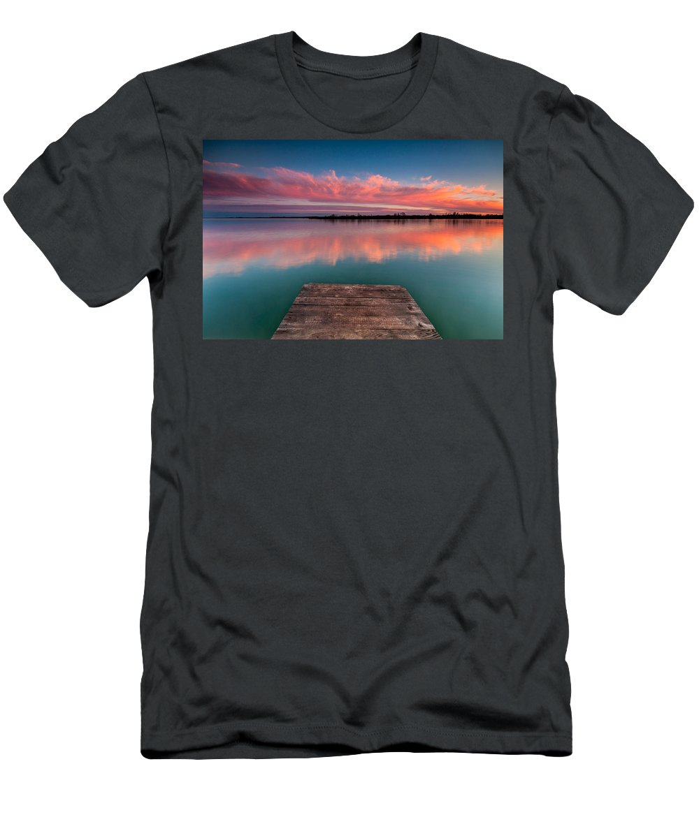 Landscapes Men's T-Shirt (Athletic Fit) featuring the photograph Rgb Sunset by Davorin Mance