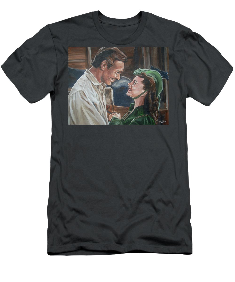 Gone With The Wind Men's T-Shirt (Athletic Fit) featuring the painting Rhett And Scarlett by Bryan Bustard