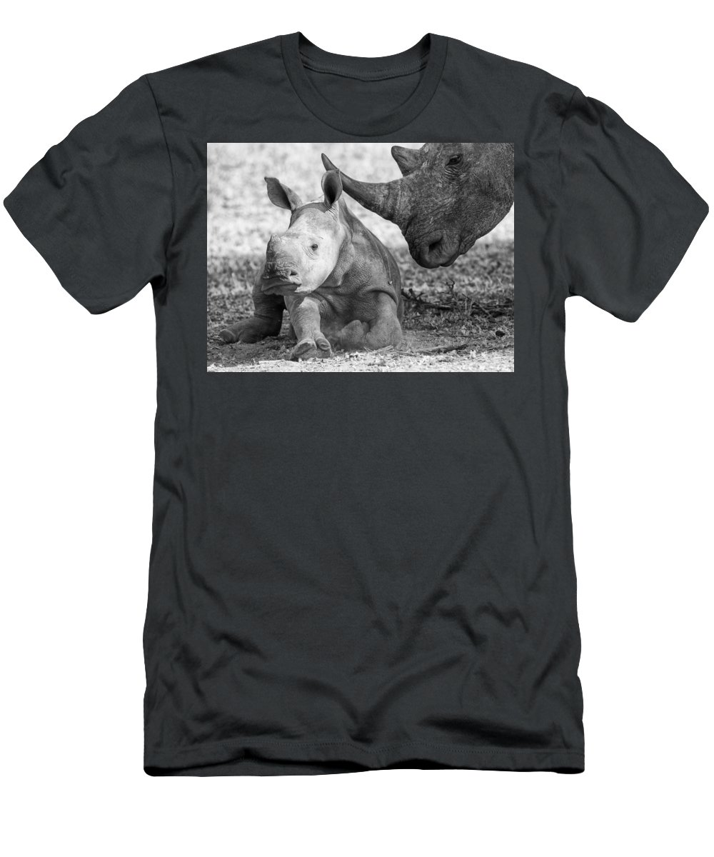 White Rhinoceros Men's T-Shirt (Athletic Fit) featuring the photograph Rhino And Baby by Max Waugh