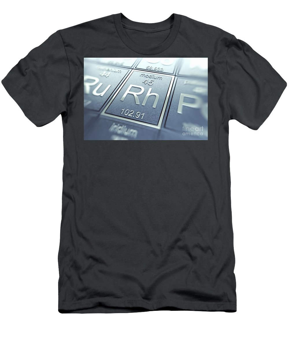 Rhodium Men's T-Shirt (Athletic Fit) featuring the photograph Rhodium Chemical Element by Science Picture Co