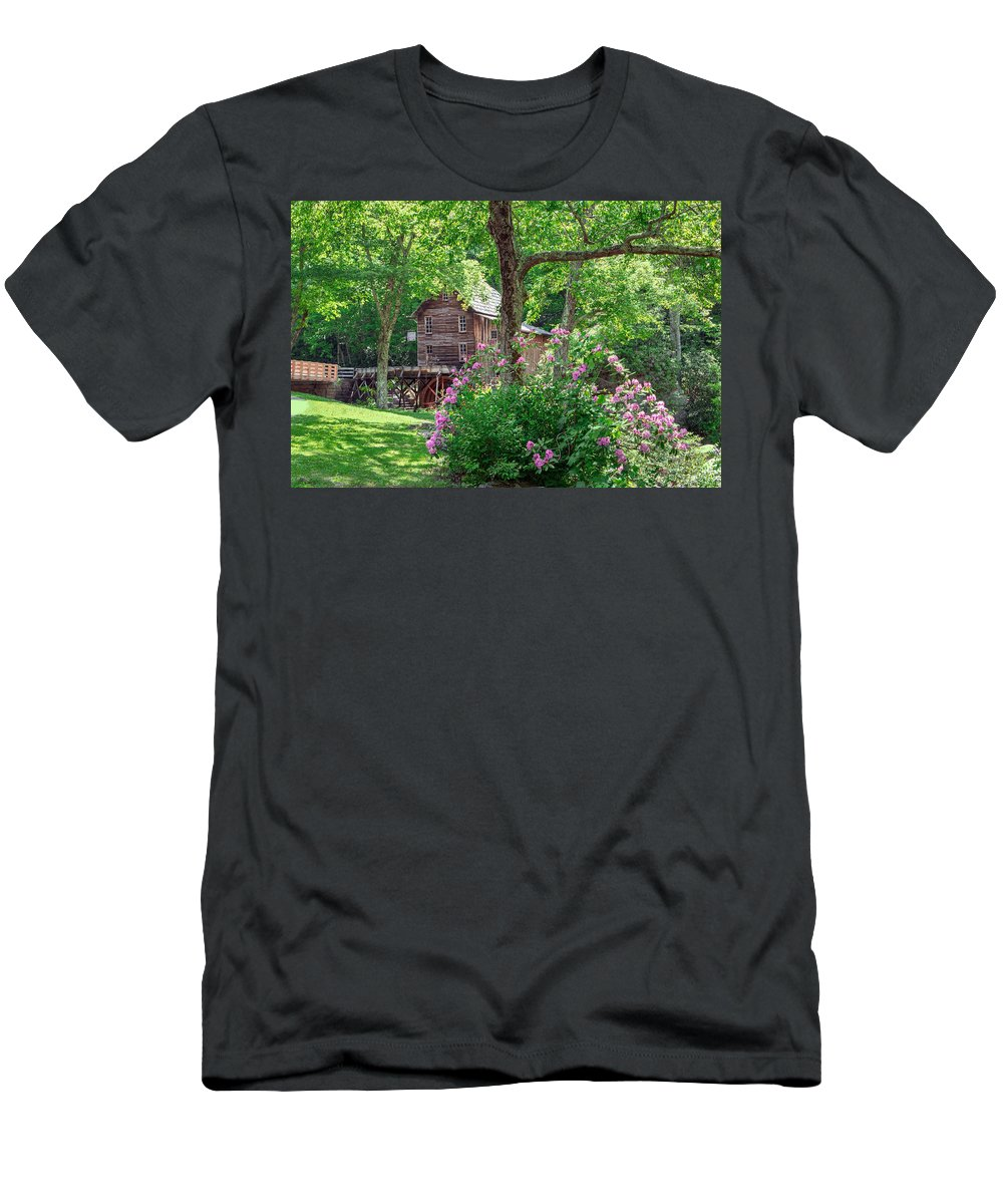 Babcock State Park Men's T-Shirt (Athletic Fit) featuring the photograph Rhododendron At Babcock by Mary Almond