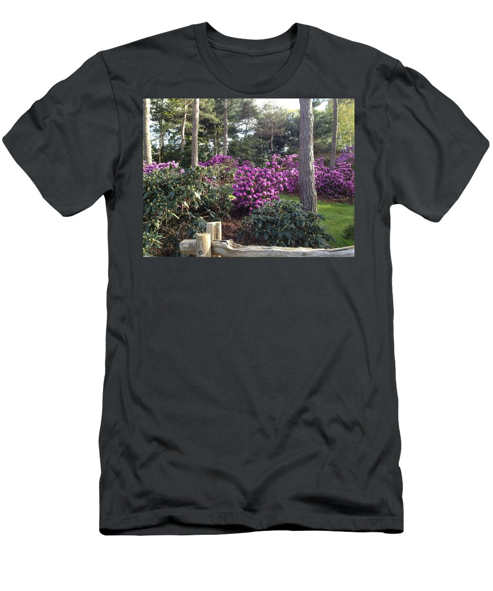 Purple Men's T-Shirt (Athletic Fit) featuring the photograph Rhododendron Garden by Pema Hou