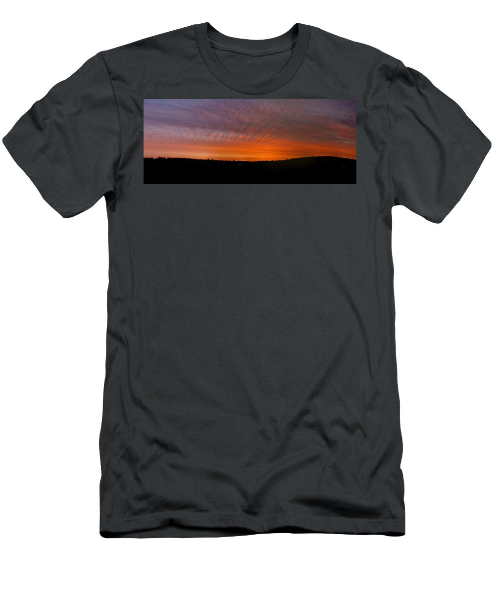 Rhymney Valley Men's T-Shirt (Athletic Fit) featuring the photograph Rhymney Valley Sunrise Panorama by Steve Purnell