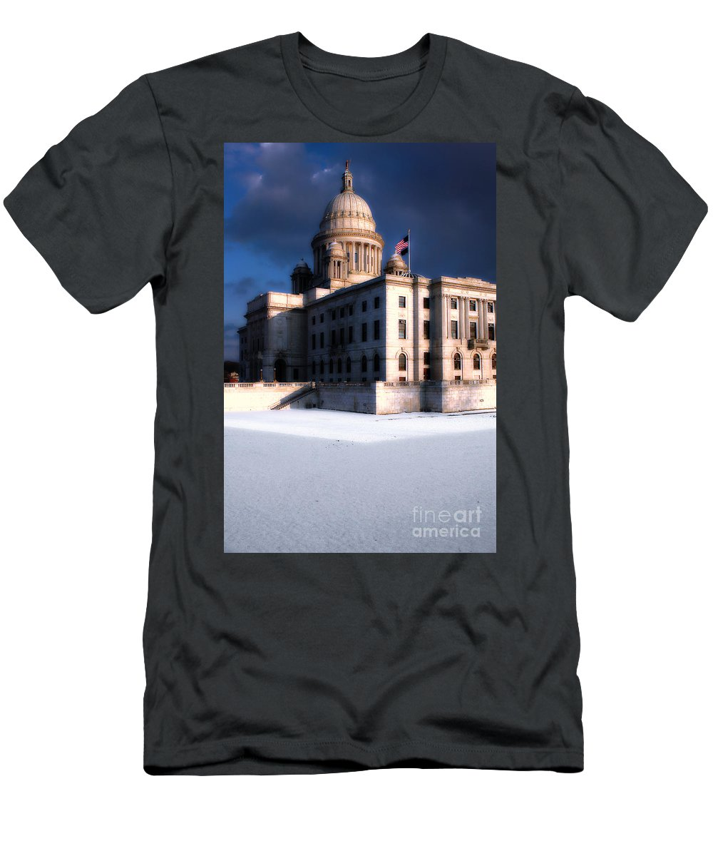 Rhode Island Men's T-Shirt (Athletic Fit) featuring the photograph Ri State Capitol 1 by Mike Nellums