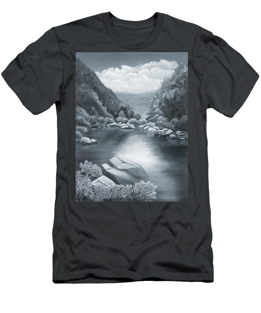 Ozarks Men's T-Shirt (Athletic Fit) featuring the painting Richland Creek by Garry McMichael
