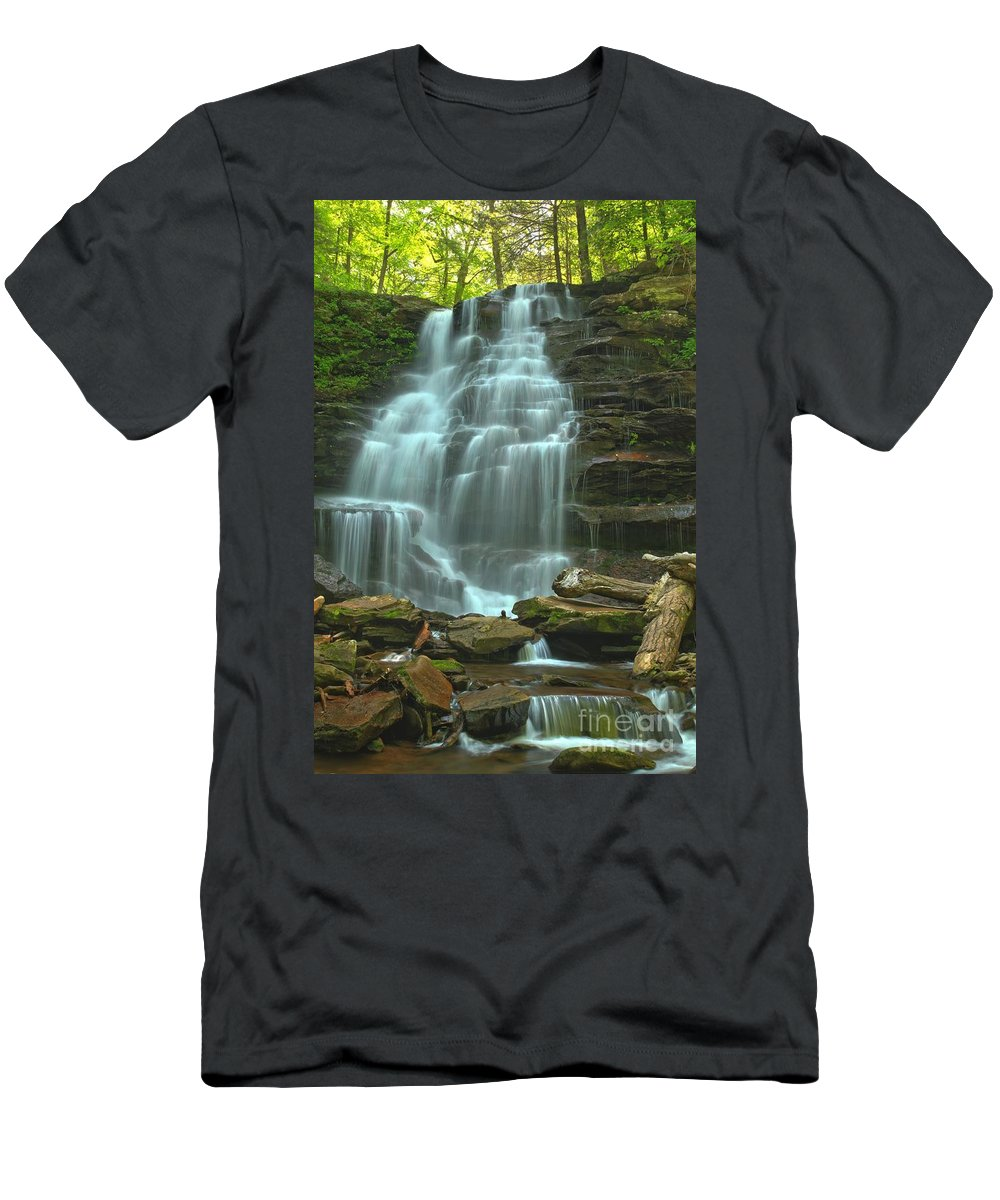 Ricketts Glen Waterfalls Men's T-Shirt (Athletic Fit) featuring the photograph Ricketts Glen Cascading Falls by Adam Jewell