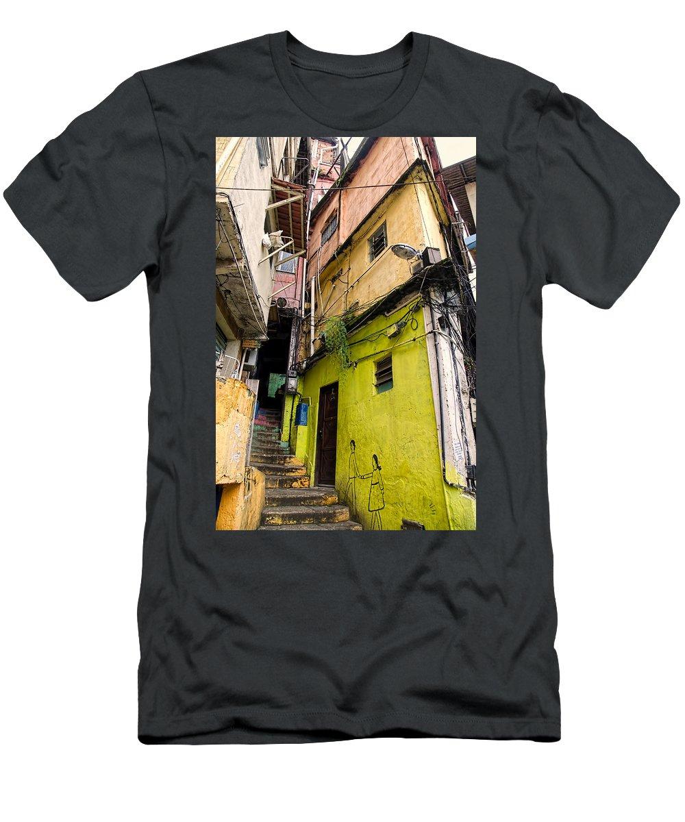 Favela Men's T-Shirt (Athletic Fit) featuring the photograph Rio De Janeiro Brazil - Favela Housing by Jon Berghoff