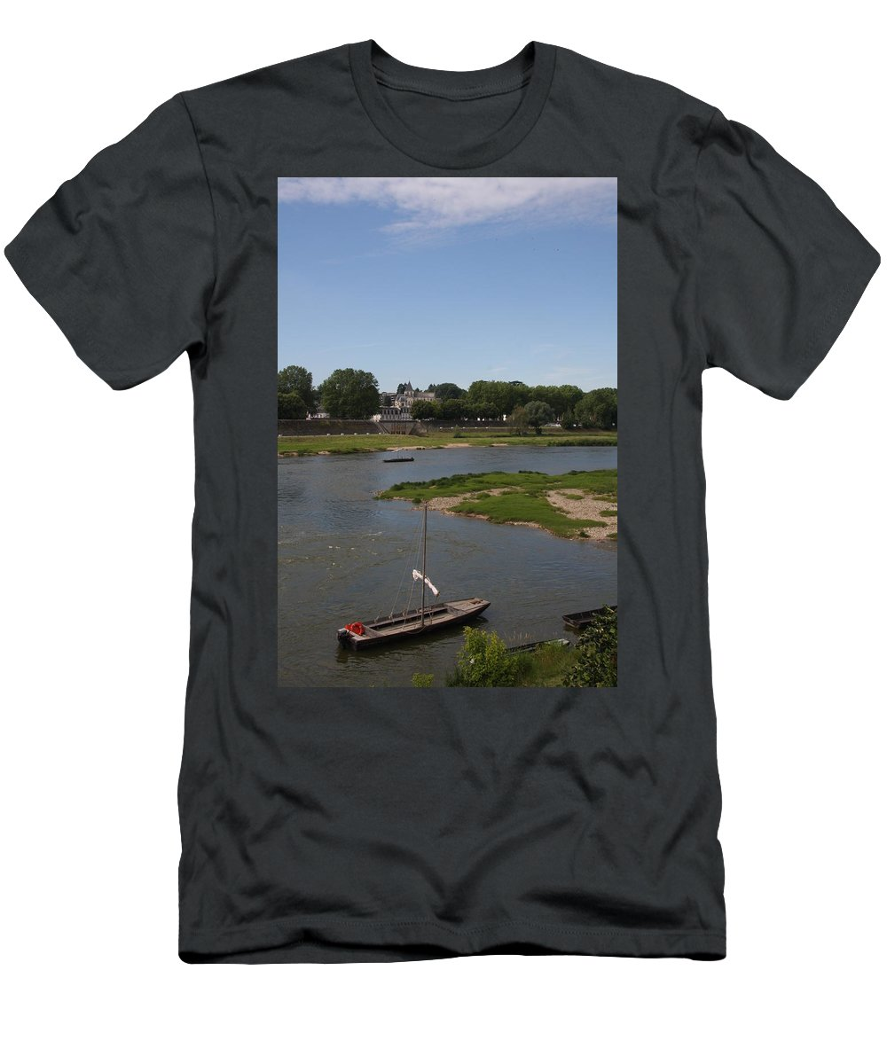 Boat Men's T-Shirt (Athletic Fit) featuring the photograph River Loire Fishing Boat by Christiane Schulze Art And Photography