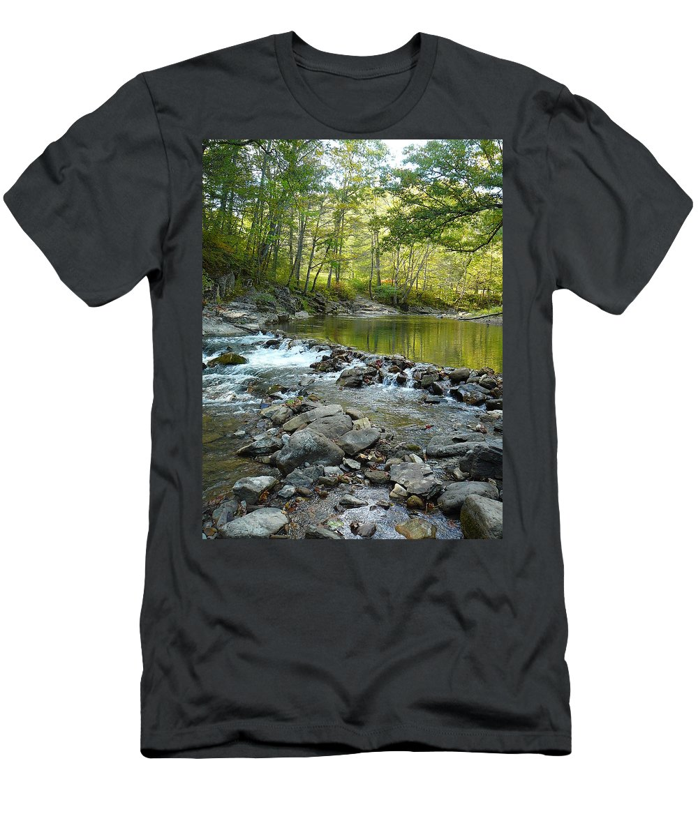 Bullpasture Gorge Men's T-Shirt (Athletic Fit) featuring the photograph River Rocks by Two Bridges North