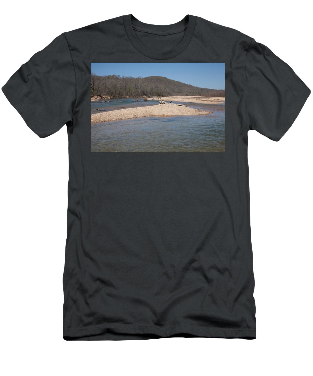 Blue Men's T-Shirt (Athletic Fit) featuring the photograph The Black River In Winter by Scott Sanders