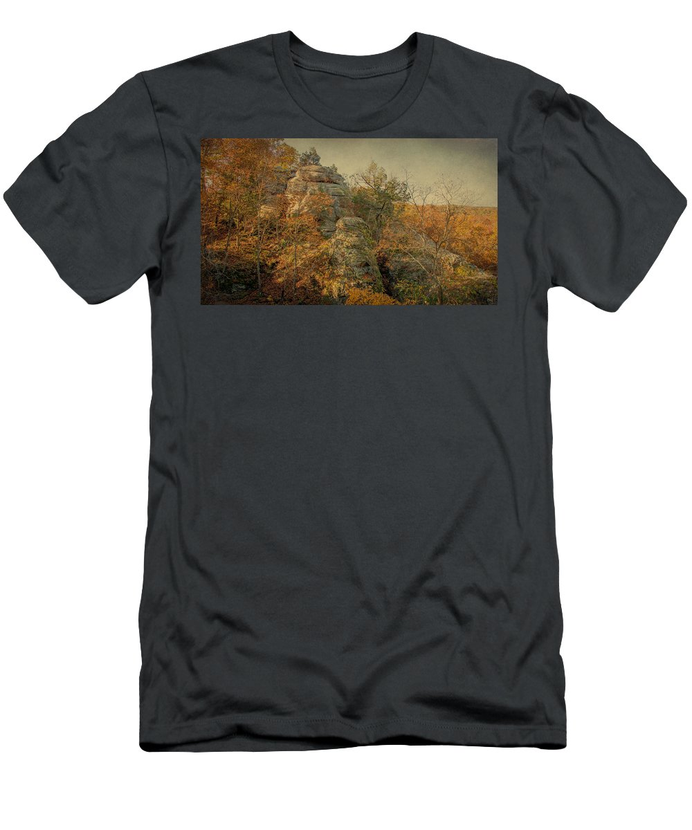 Shawnee National Forest Men's T-Shirt (Athletic Fit) featuring the photograph Rock Formation by Sandy Keeton