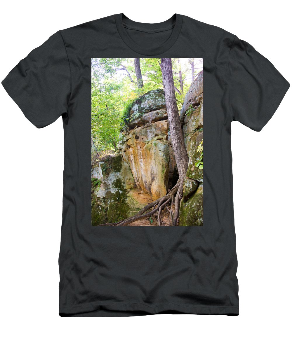 Rocky Cliff Wildcat Den Muscatine Ia Men's T-Shirt (Athletic Fit) featuring the photograph Rock Formation Wildcat Den State Park by Cynthia Woods