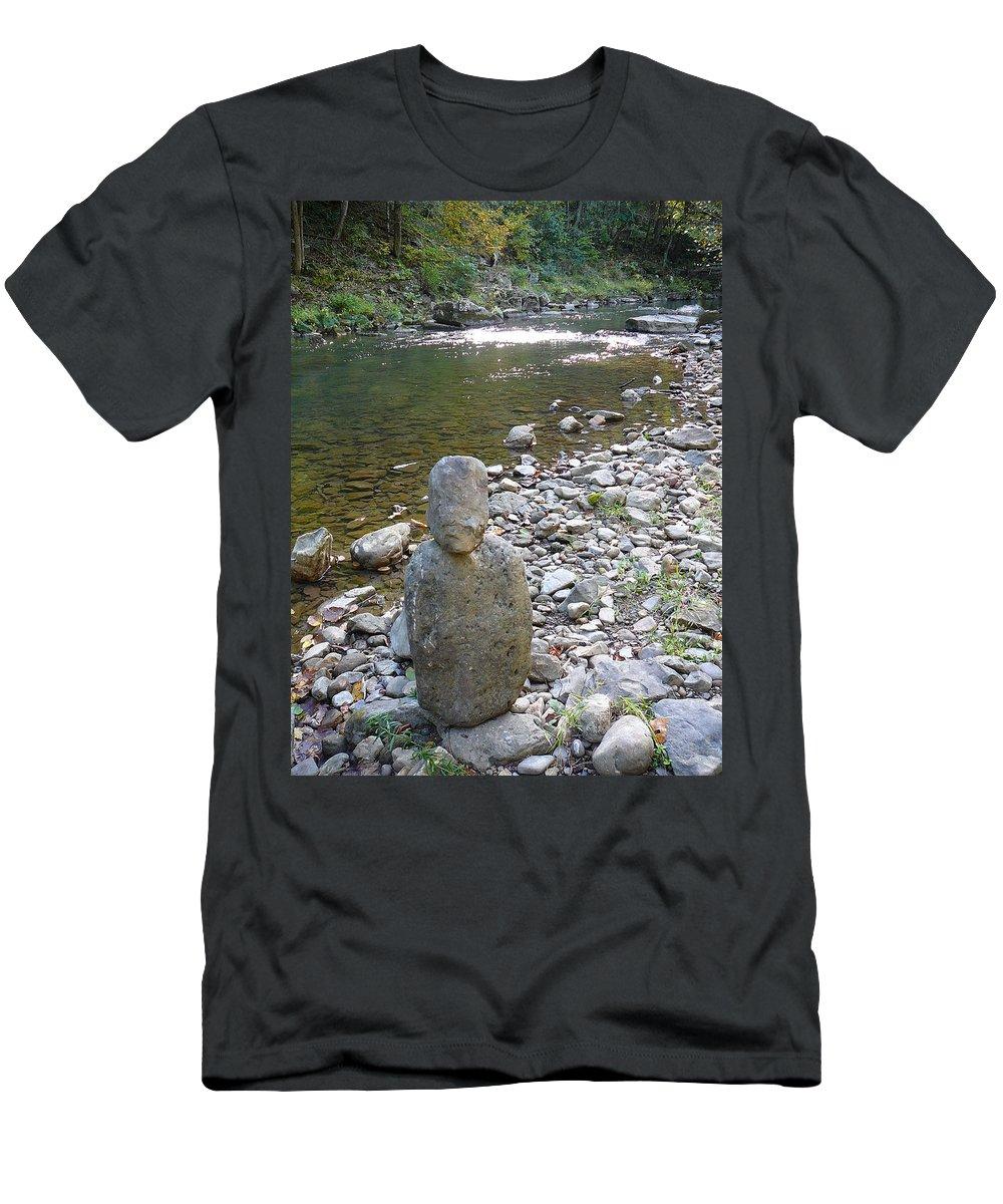 Bullpasture Gorge Men's T-Shirt (Athletic Fit) featuring the photograph Rock Man by Two Bridges North