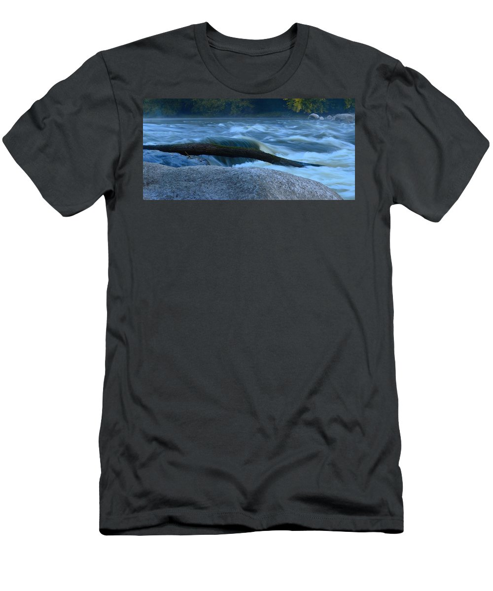 Rapids Men's T-Shirt (Athletic Fit) featuring the photograph Rock Rapids Two by Bonfire Photography