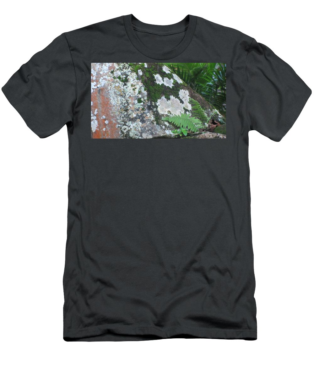 Rocks Men's T-Shirt (Athletic Fit) featuring the photograph Rock With Moss by Anita Burgermeister