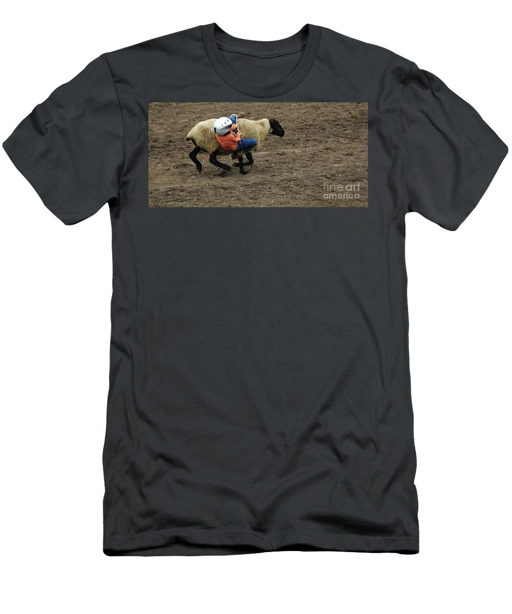 Velcro Men's T-Shirt (Athletic Fit) featuring the photograph Rodeo Velcro Rider 2 by Bob Christopher