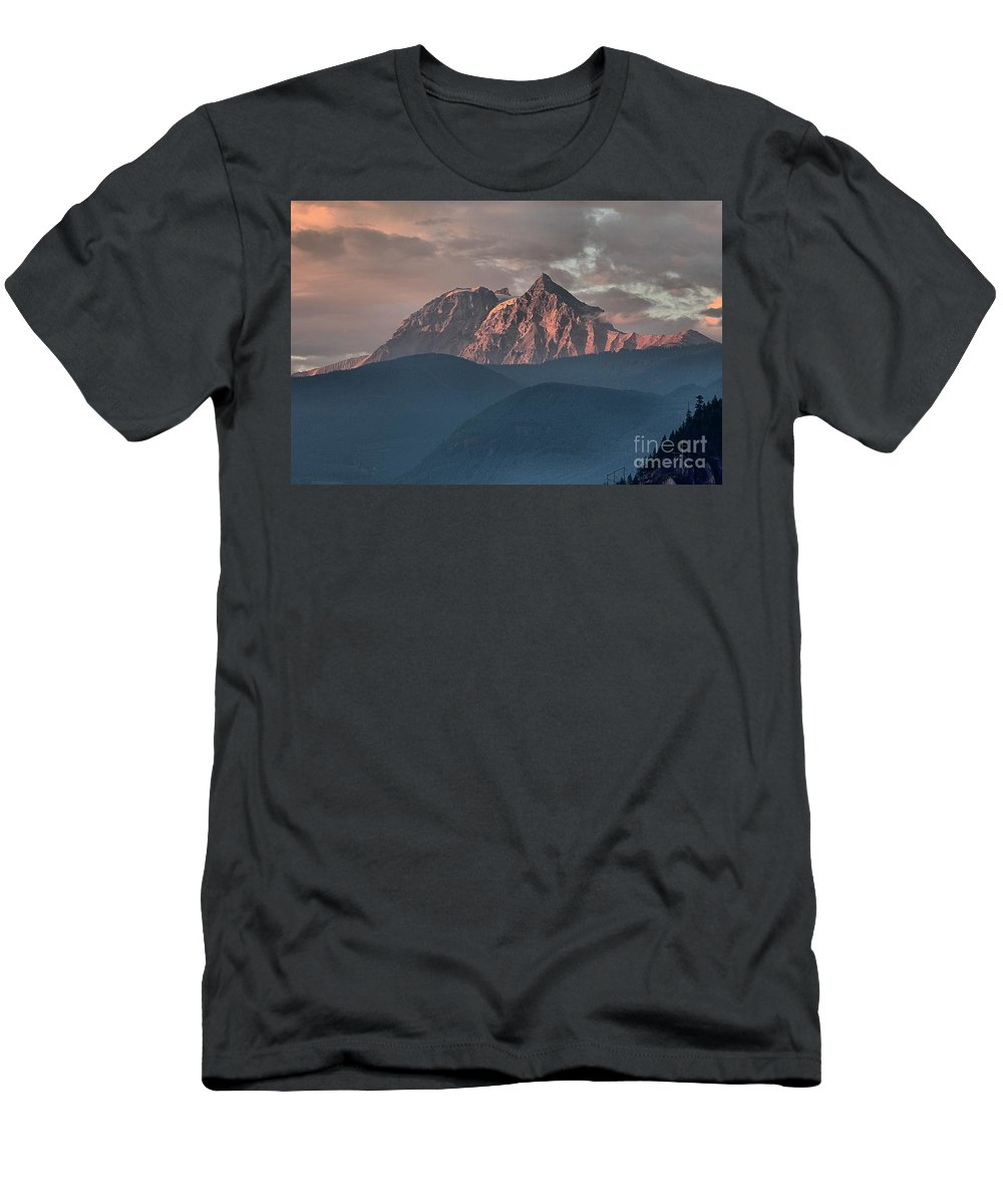 British Columbia Sunset Men's T-Shirt (Athletic Fit) featuring the photograph Rolling Hills And Purple Tantalus Peaks by Adam Jewell