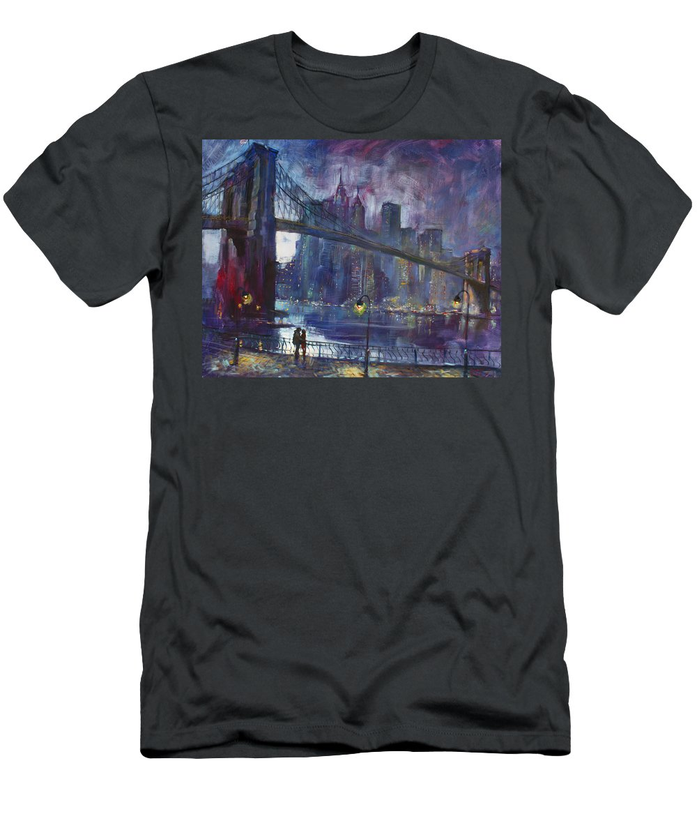 Brooklyn Bridge T-Shirt featuring the painting Romance by East River NYC by Ylli Haruni