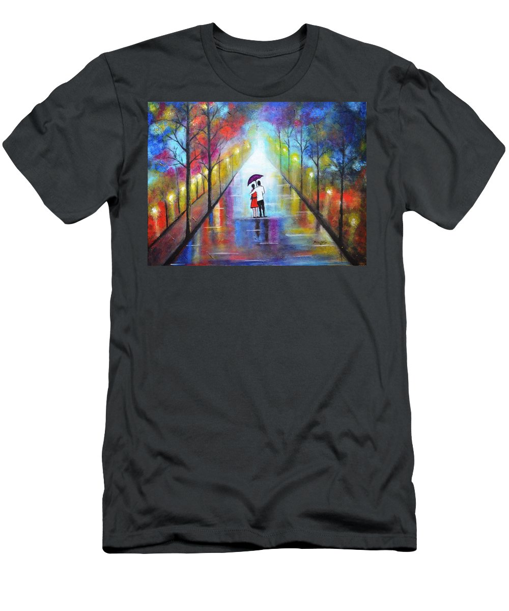 Romance Men's T-Shirt (Athletic Fit) featuring the painting Romantic Interlude by Manjiri Kanvinde