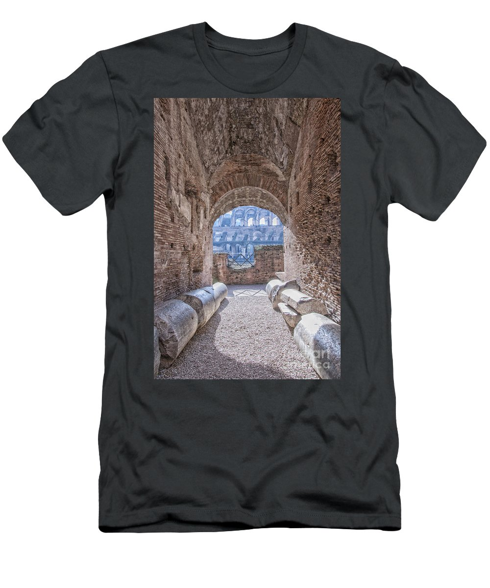 Colosseum Men's T-Shirt (Athletic Fit) featuring the photograph Rome Colosseum Interior 01 by Antony McAulay