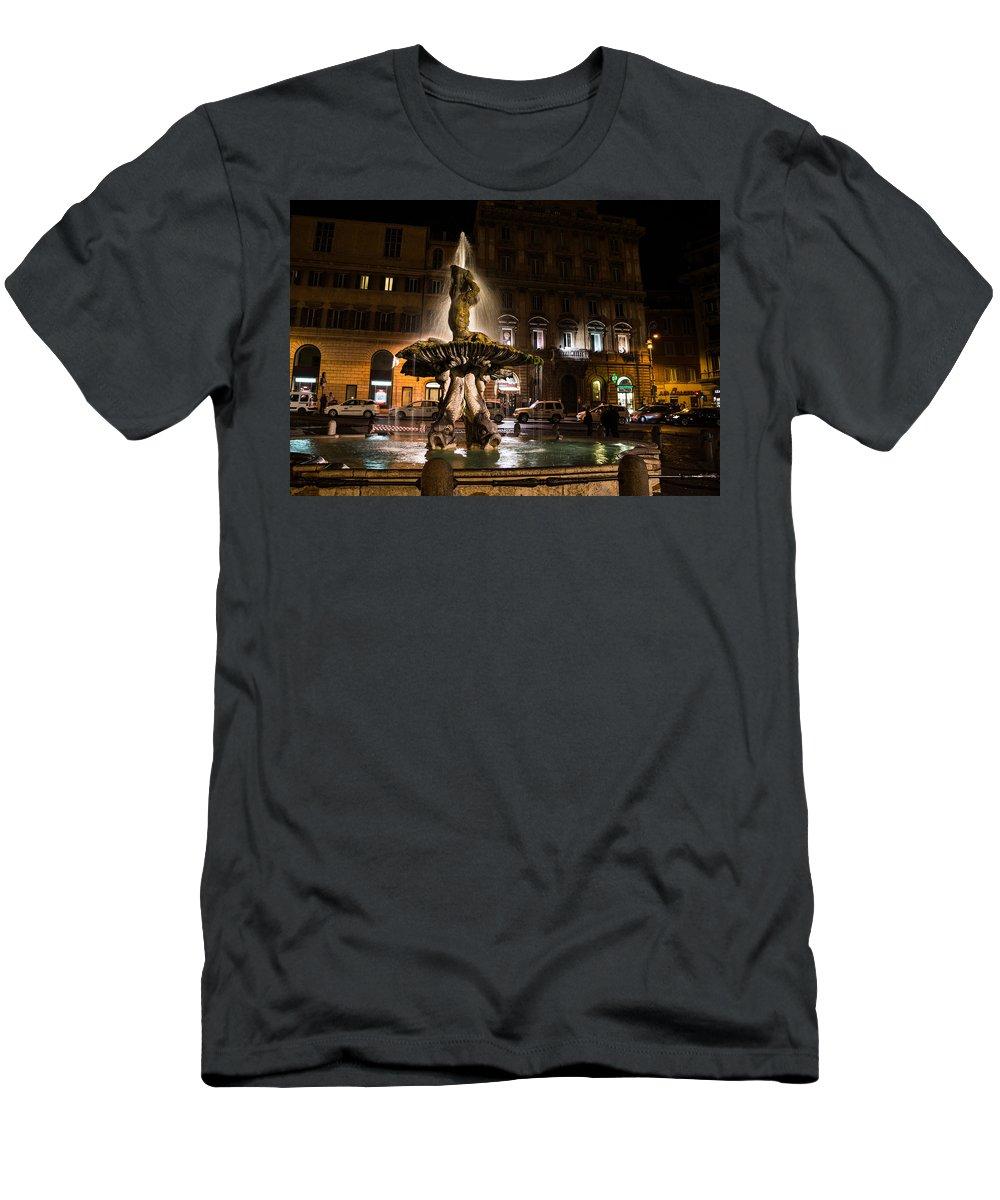 Rome Men's T-Shirt (Athletic Fit) featuring the photograph Rome's Fabulous Fountains - Fontana Del Tritone by Georgia Mizuleva