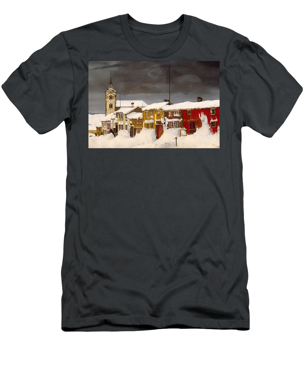 Painting Men's T-Shirt (Athletic Fit) featuring the painting Roros In Winter - Norway by Mountain Dreams