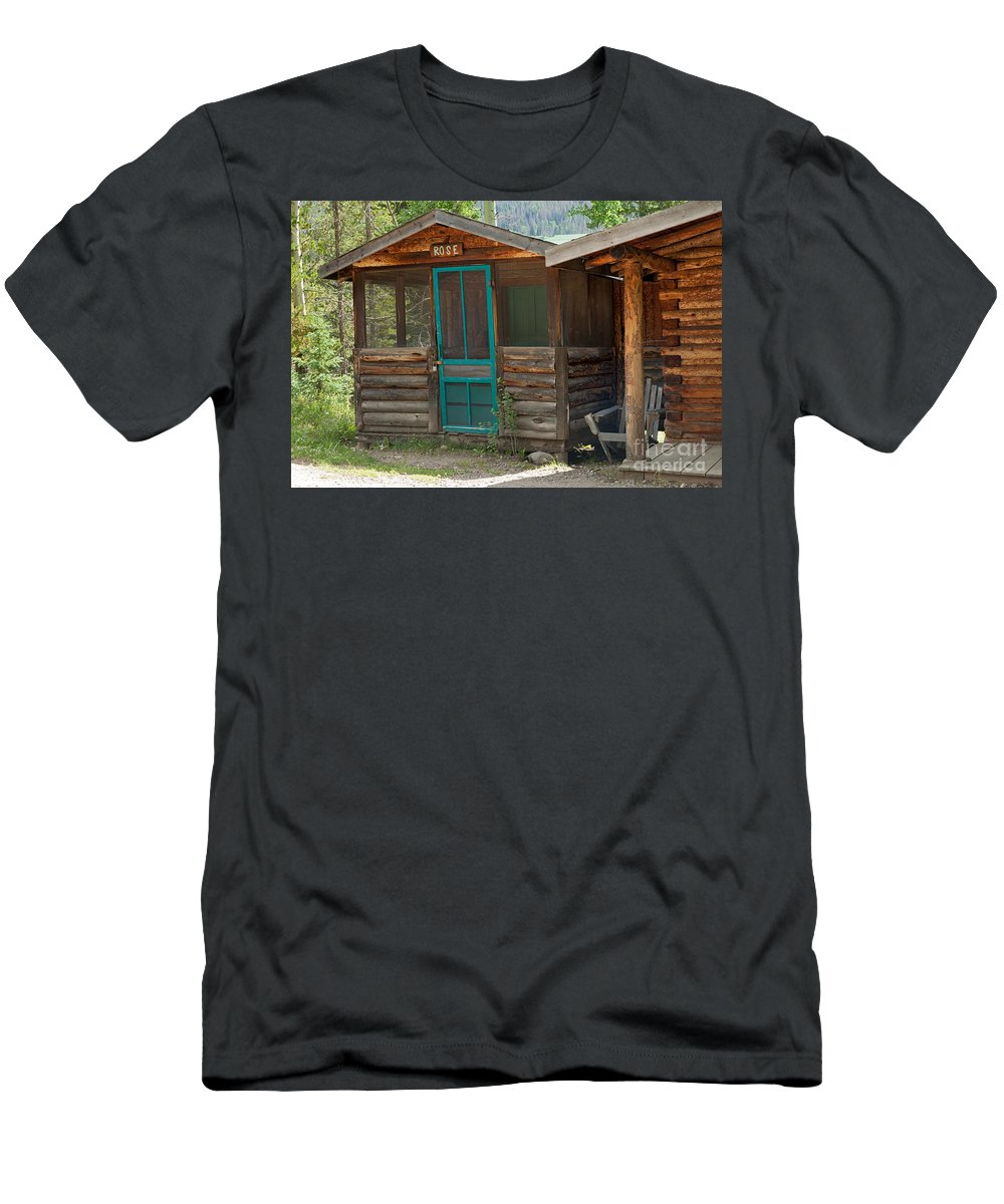 Cabin Men's T-Shirt (Athletic Fit) featuring the photograph Rose Cabin At The Holzwarth Historic Site by Fred Stearns