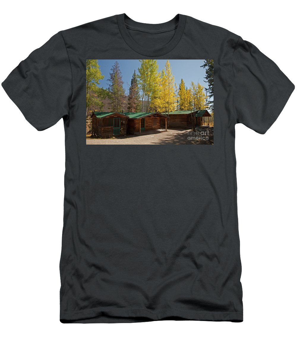 Afternoon Men's T-Shirt (Athletic Fit) featuring the photograph Rose Twin 1 And Twin 2 Cabins At The Holzwarth Historic Site by Fred Stearns