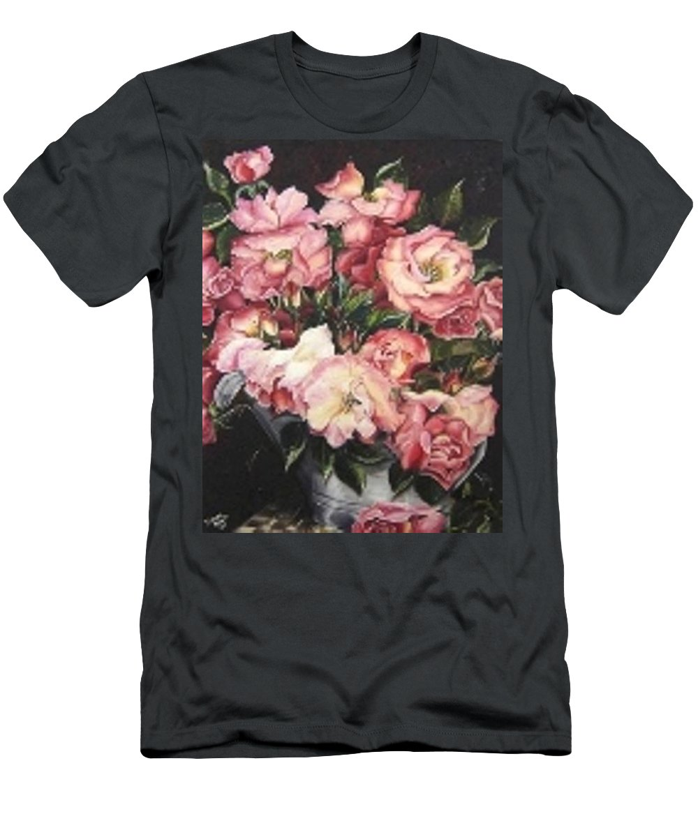 Pink Roses Floral Flowers Men's T-Shirt (Athletic Fit) featuring the painting Roses In A Watercan by Karin Dawn Kelshall- Best