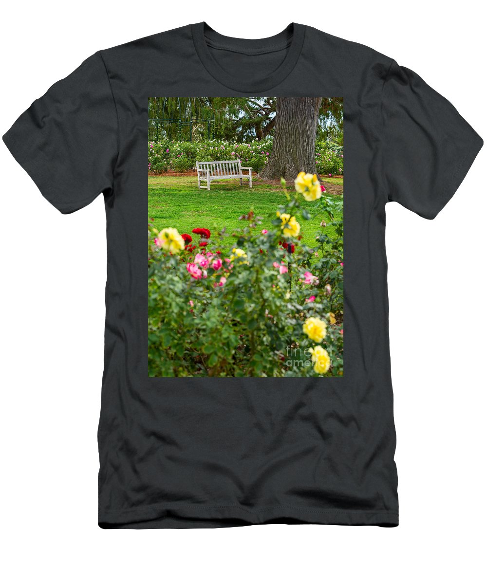 Rose Garden Men's T-Shirt (Athletic Fit) featuring the photograph Rosy View - Beautiful Rose Garden Of The Huntington Library. by Jamie Pham