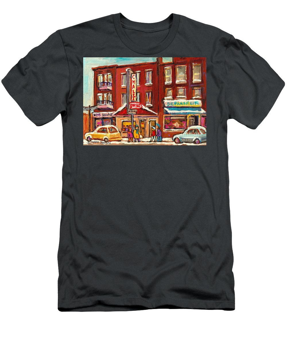 Montreal T-Shirt featuring the painting Rotisserie Le Chalet Bar B Q Sherbrooke West Montreal Winter City Scene by Carole Spandau