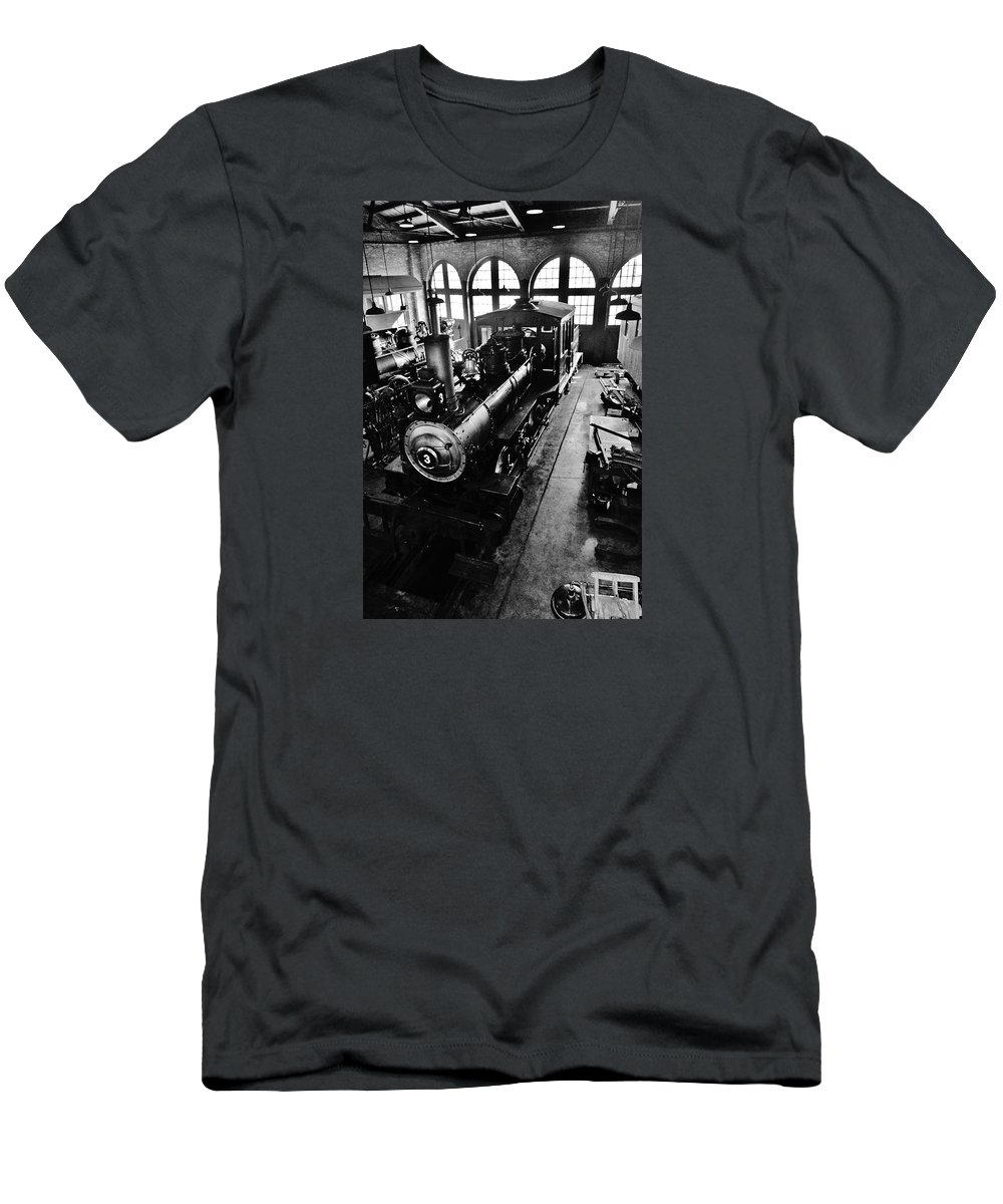 Steam Train Men's T-Shirt (Athletic Fit) featuring the photograph Roundhouse Working No. 3 by Daniel Thompson