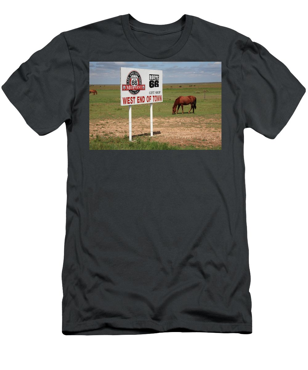 66 Men's T-Shirt (Athletic Fit) featuring the photograph Route 66 - Adrian Texas by Frank Romeo