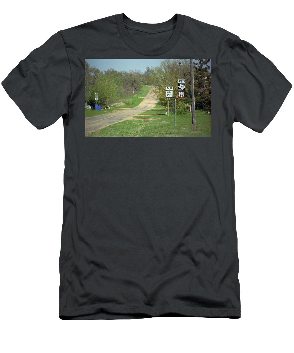 66 Men's T-Shirt (Athletic Fit) featuring the photograph Route 66 - Alanreed Texas by Frank Romeo