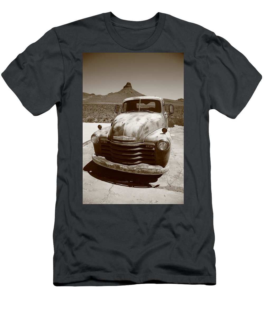 66 Men's T-Shirt (Athletic Fit) featuring the photograph Route 66 - Classic Chevy by Frank Romeo