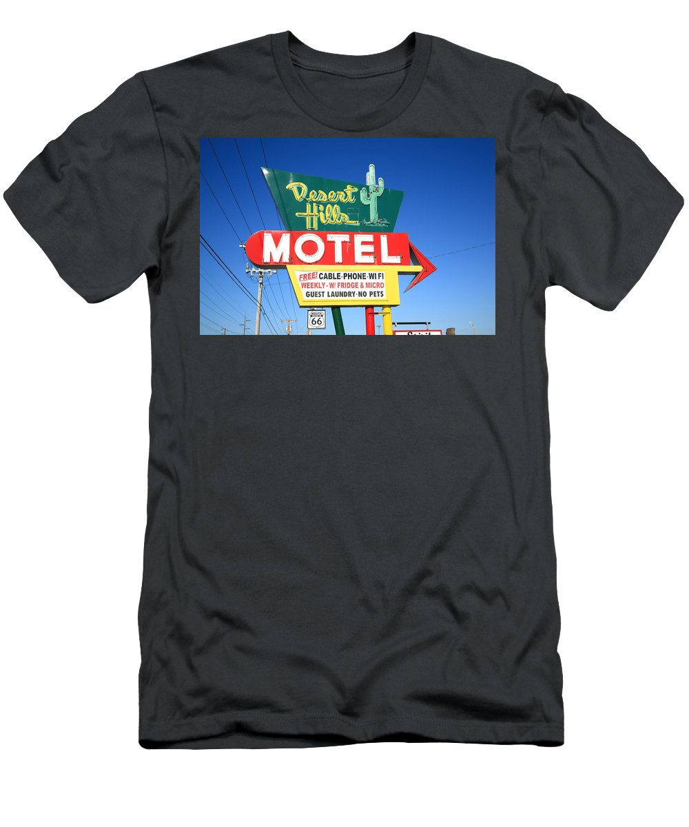 66 Men's T-Shirt (Athletic Fit) featuring the photograph Route 66 - Desert Hills Motel by Frank Romeo
