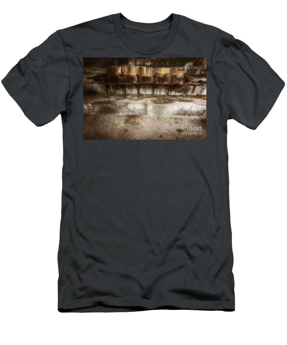 Chairs Men's T-Shirt (Athletic Fit) featuring the photograph Row 1 by Margie Hurwich
