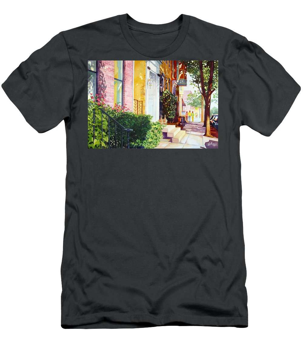 Landscape Men's T-Shirt (Athletic Fit) featuring the painting Rowhouses by Mick Williams