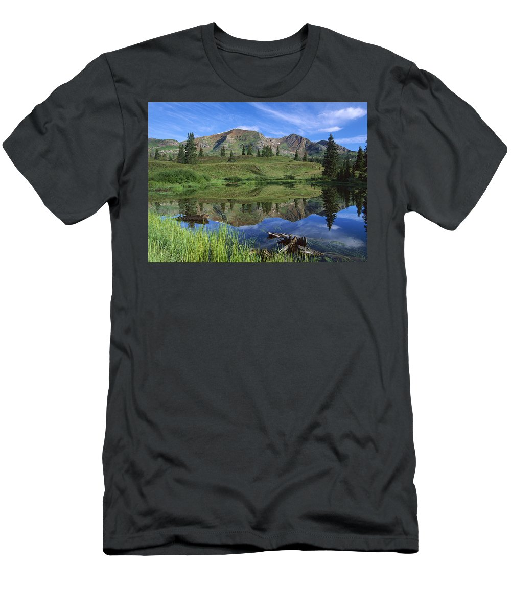 Feb0514 Men's T-Shirt (Athletic Fit) featuring the photograph Ruby Peak Reflected In Lake Raggeds by Tim Fitzharris