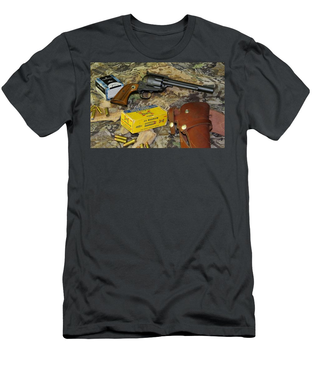 Ruger Men's T-Shirt (Athletic Fit) featuring the photograph Ruger Blackhawk Still Life by Kent Dunning