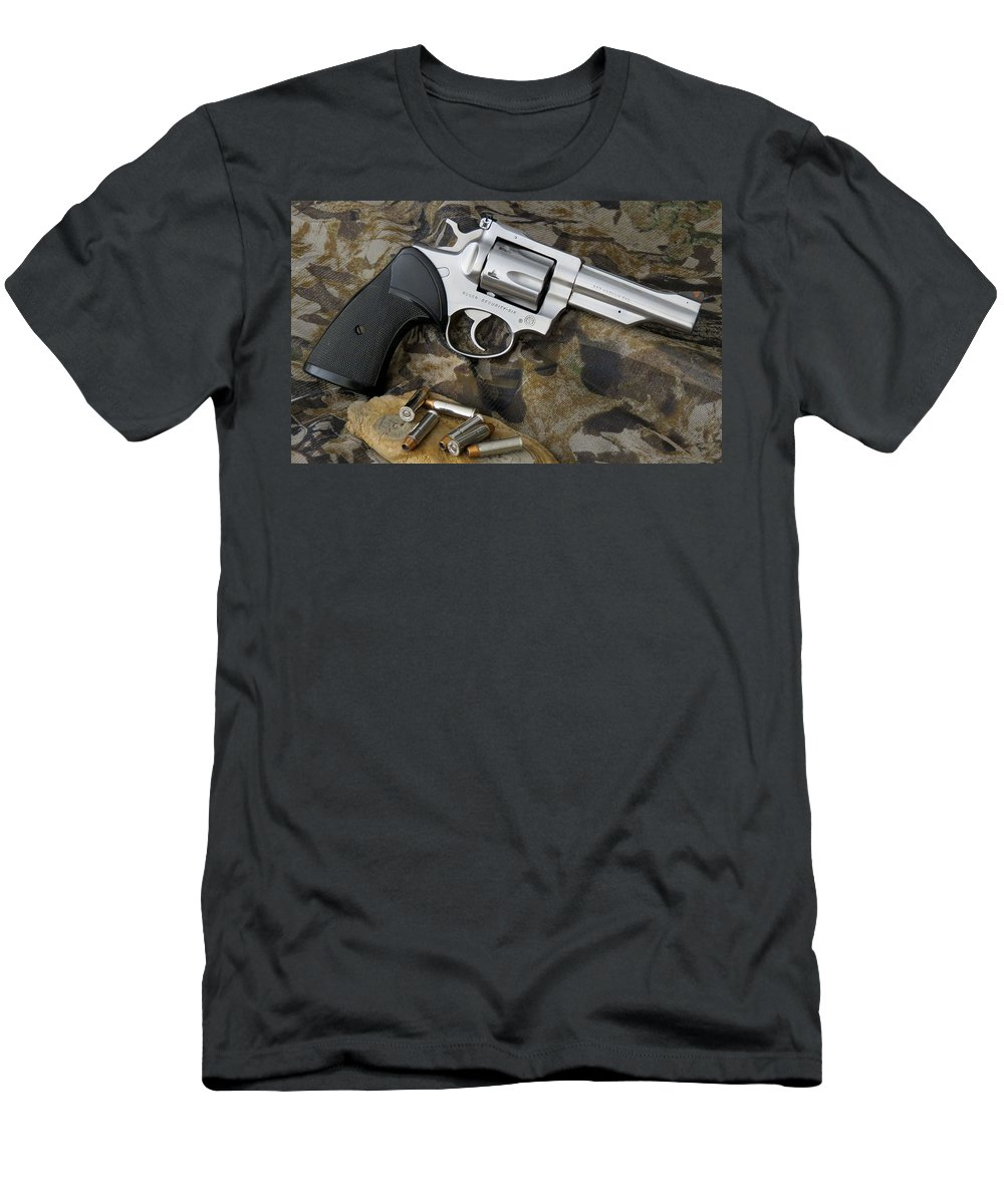 Stainless Men's T-Shirt (Athletic Fit) featuring the photograph Ruger Security Six Stainless by Kent Dunning