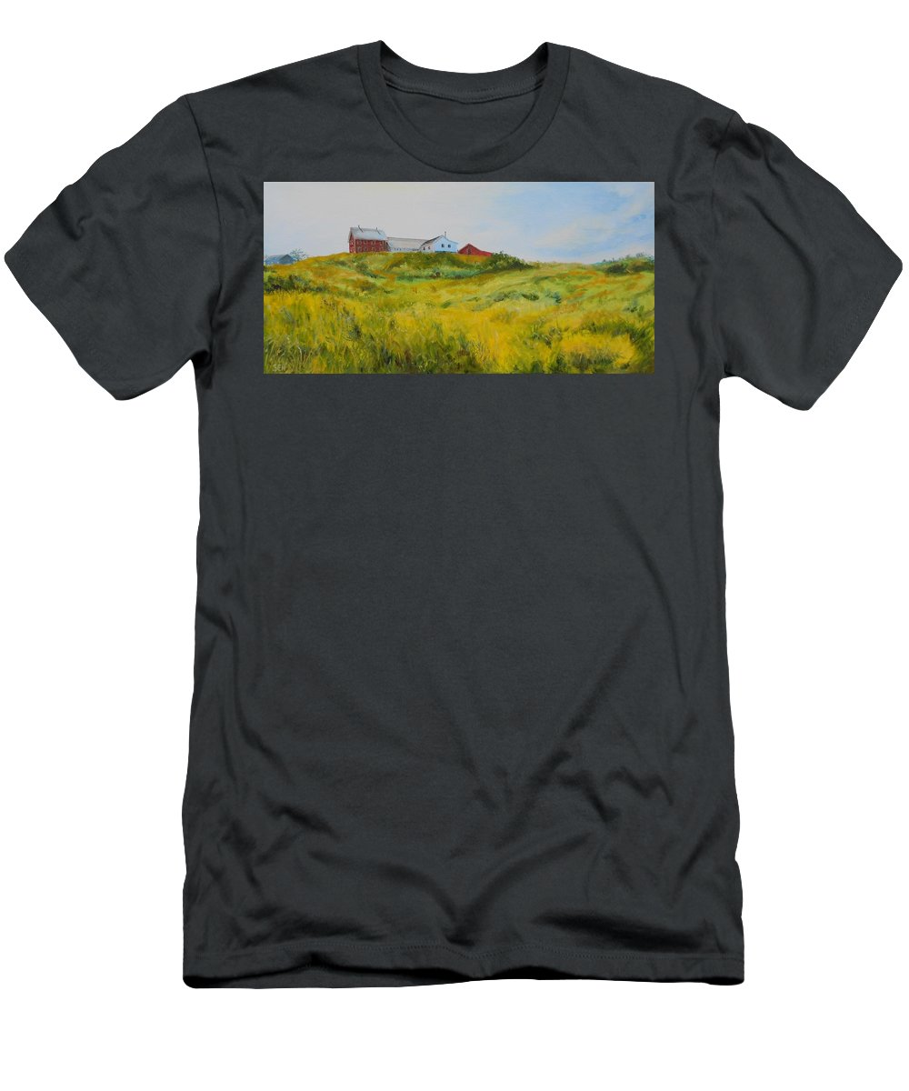 Red Barn Men's T-Shirt (Athletic Fit) featuring the painting Rural Haze by Susan Hanna