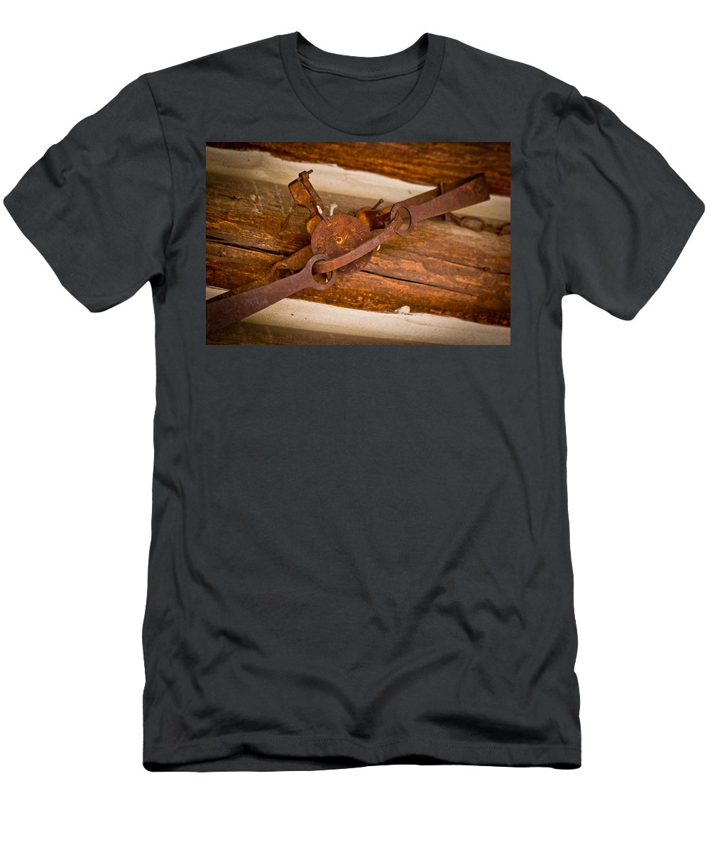 Log Cabin Men's T-Shirt (Athletic Fit) featuring the photograph Rust Trapped On A Log - Old Trap - Casper Wyoming by Diane Mintle