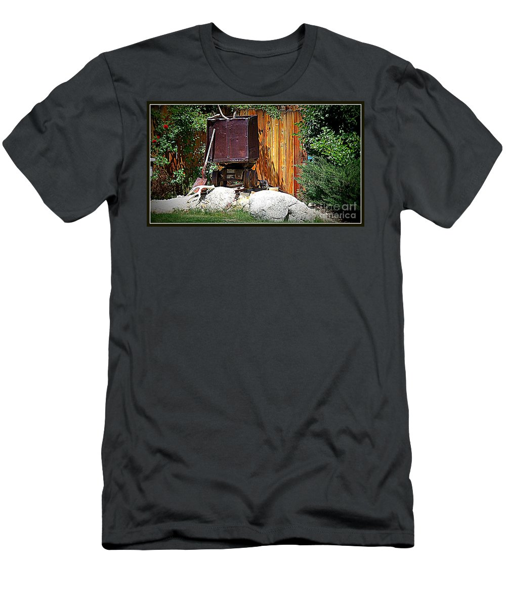 Train Men's T-Shirt (Athletic Fit) featuring the photograph Rustic Times by Bobbee Rickard