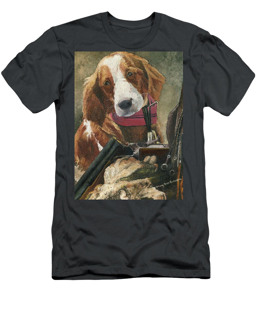 Animal Men's T-Shirt (Athletic Fit) featuring the painting Rusty - A Hunting Dog by Mary Ellen Anderson