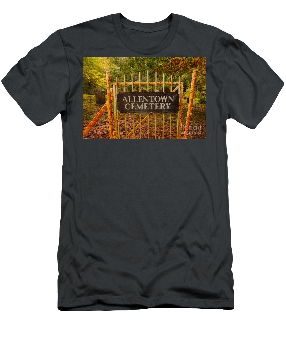 Rust Men's T-Shirt (Athletic Fit) featuring the photograph Rusty Gate by Ray Konopaske